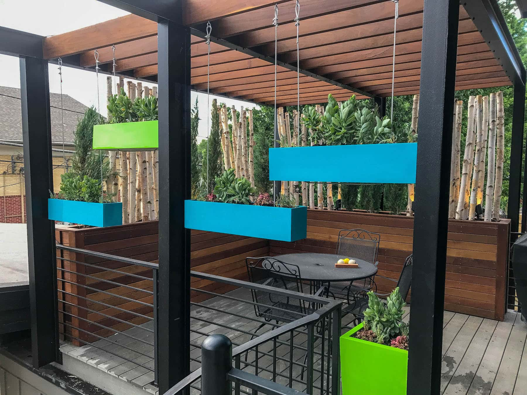 Hanging Planters and Pergola