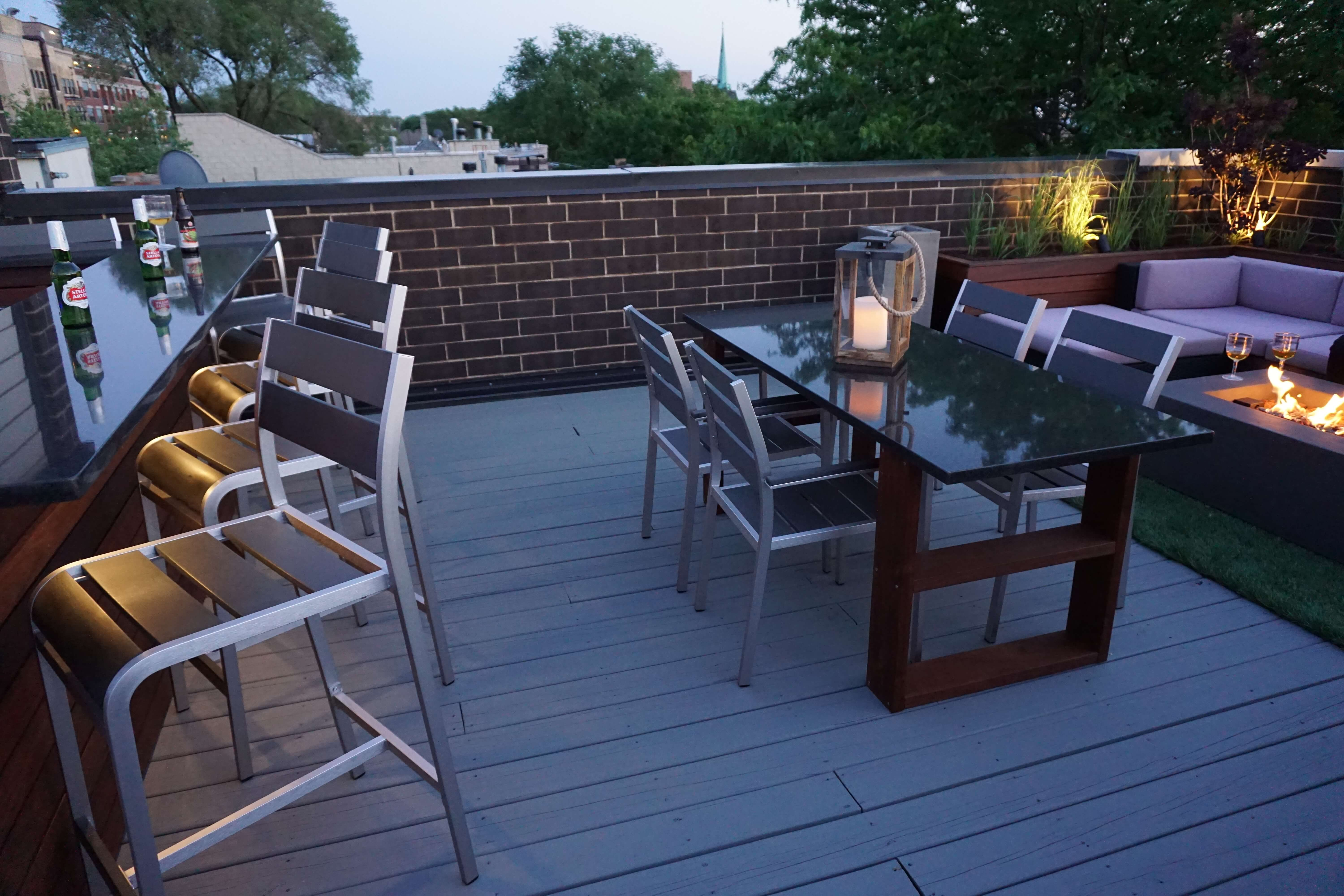 outdoor kitchen bar dining fire pit rooftop deck chicago il
