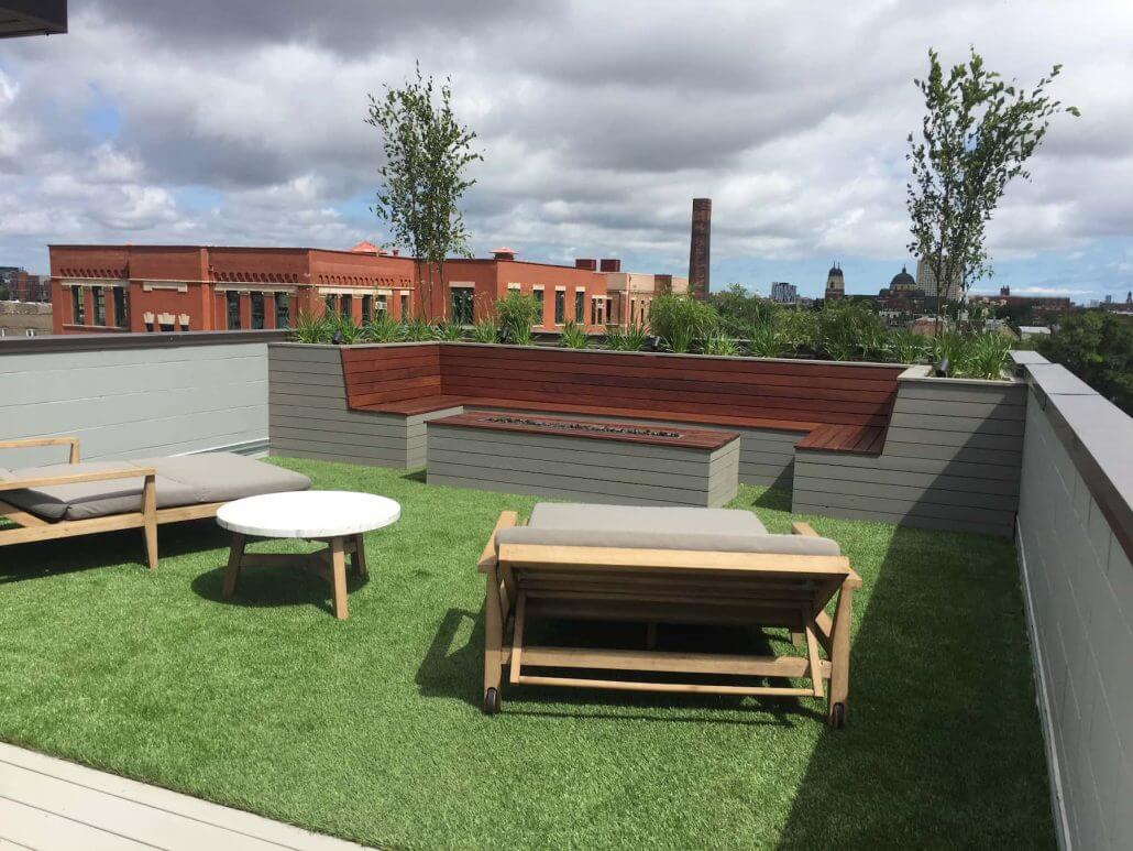 rooftop terrace with built in furniture denver co roof decks pergolas and outdoor living. Black Bedroom Furniture Sets. Home Design Ideas