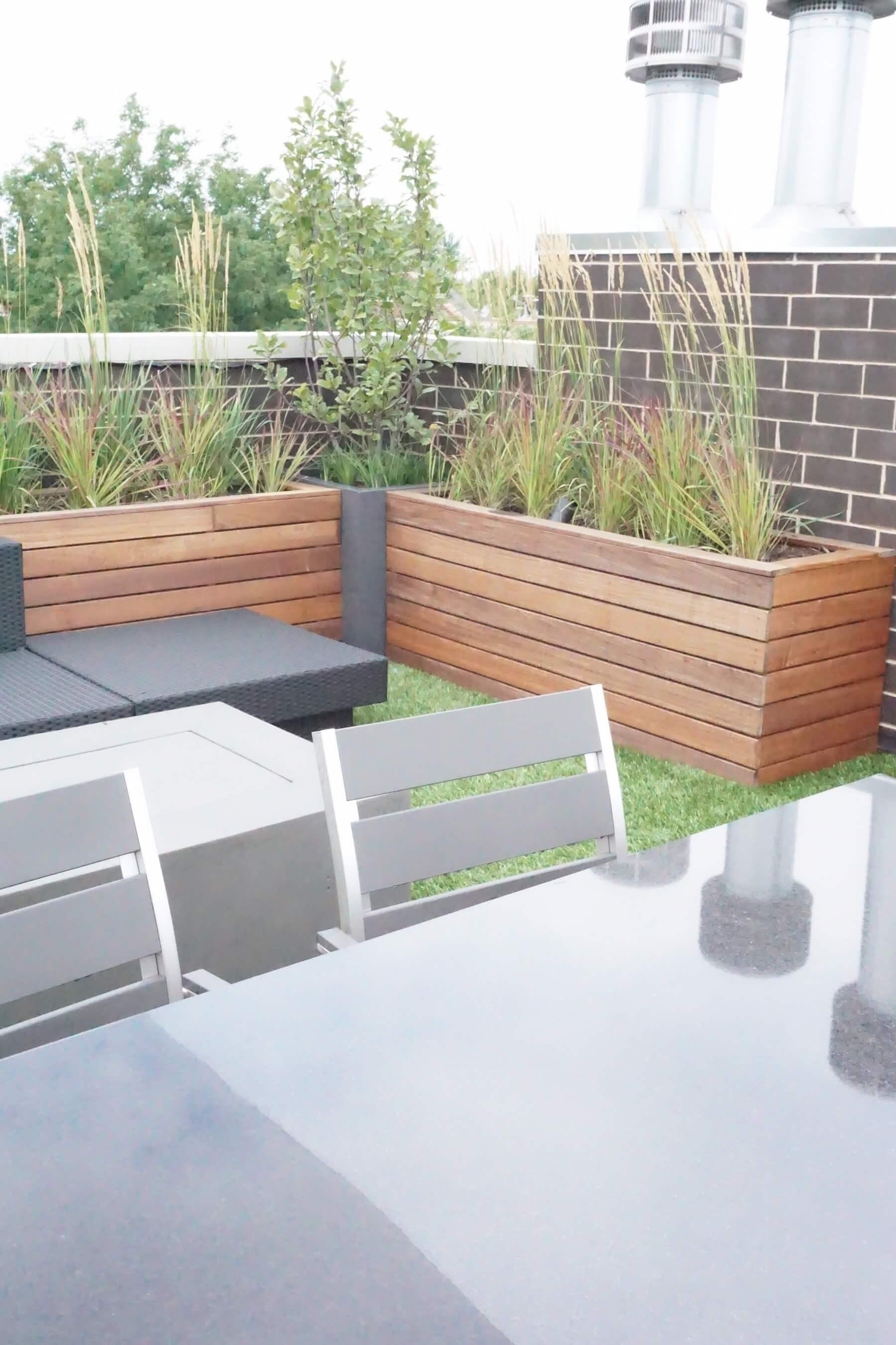 Rooftop deck with built in planters