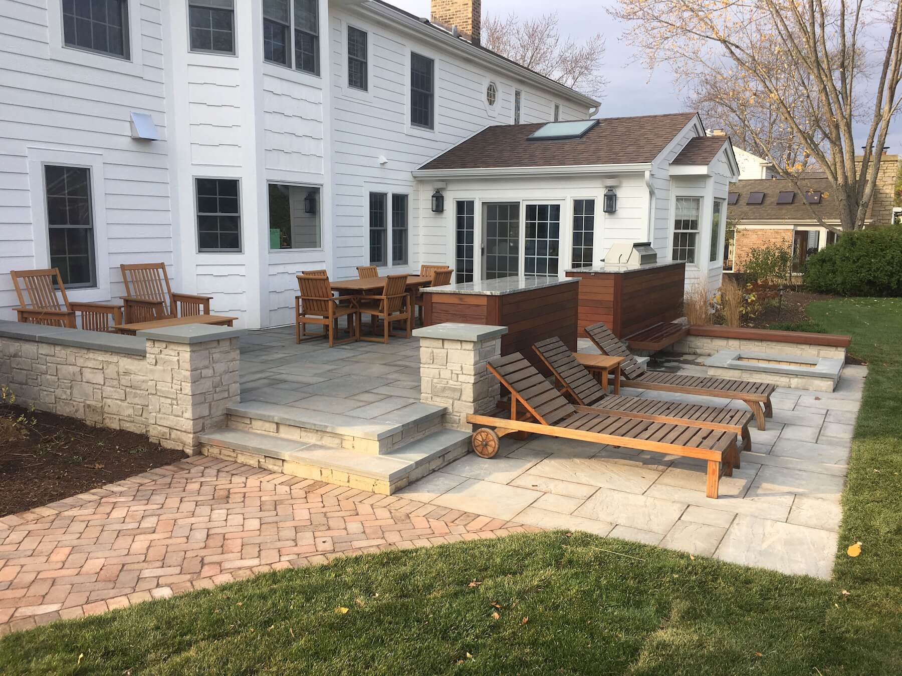backyard stone paver patio denver co roof decks pergolas and