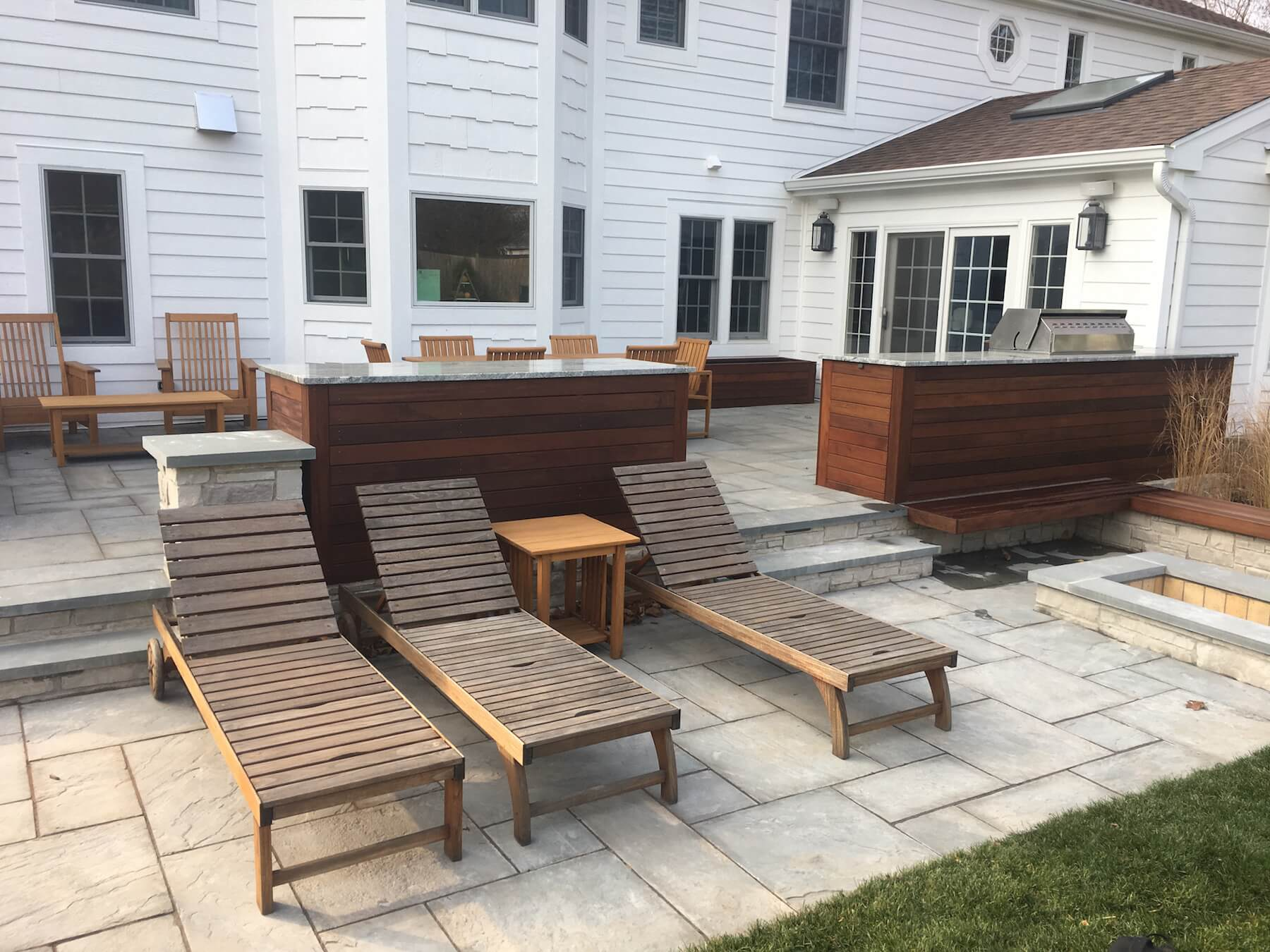 Stone patio with built in planters Denver Co