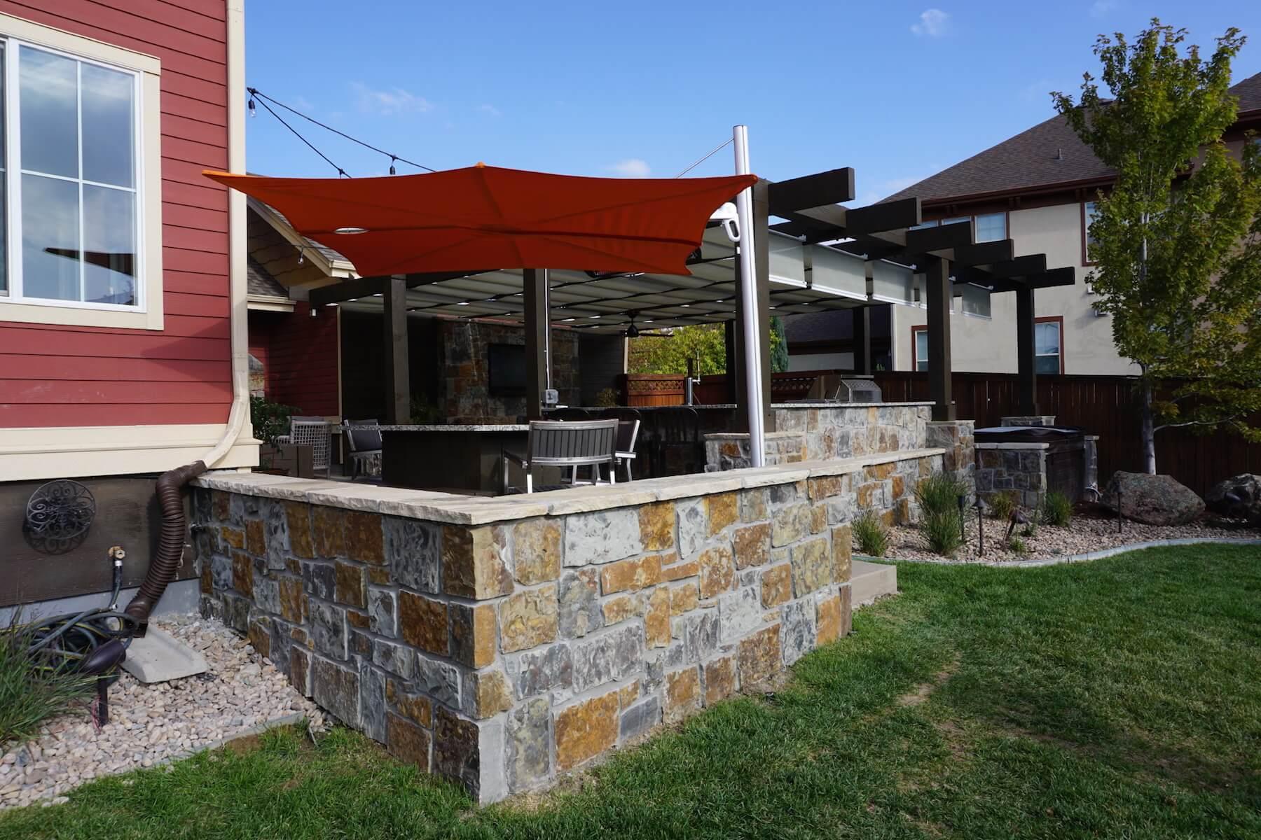 stone patio and canopy Denver Colorado