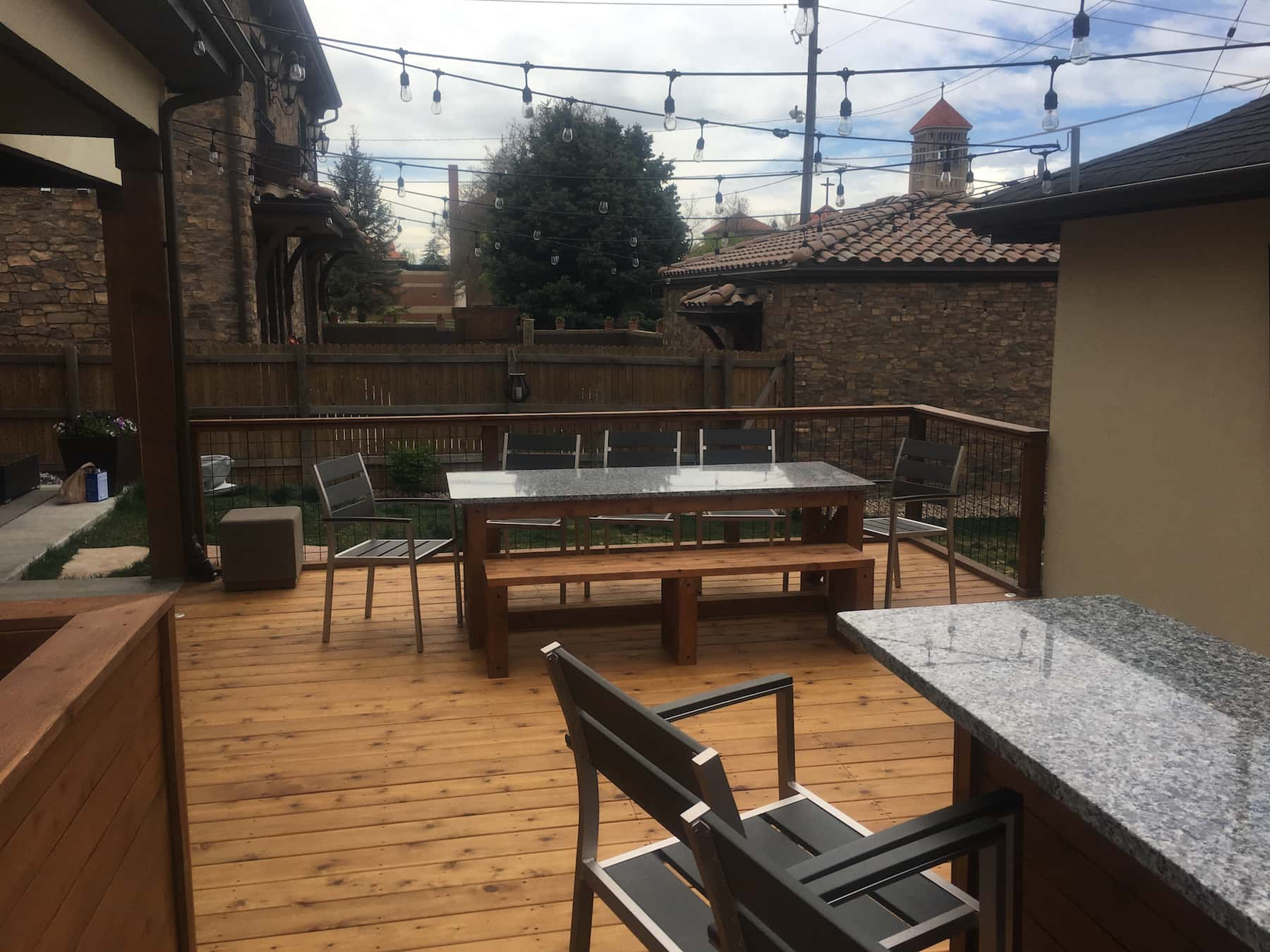 outdoor kitchen deck railing lights outdoor dining cherry creek denver co