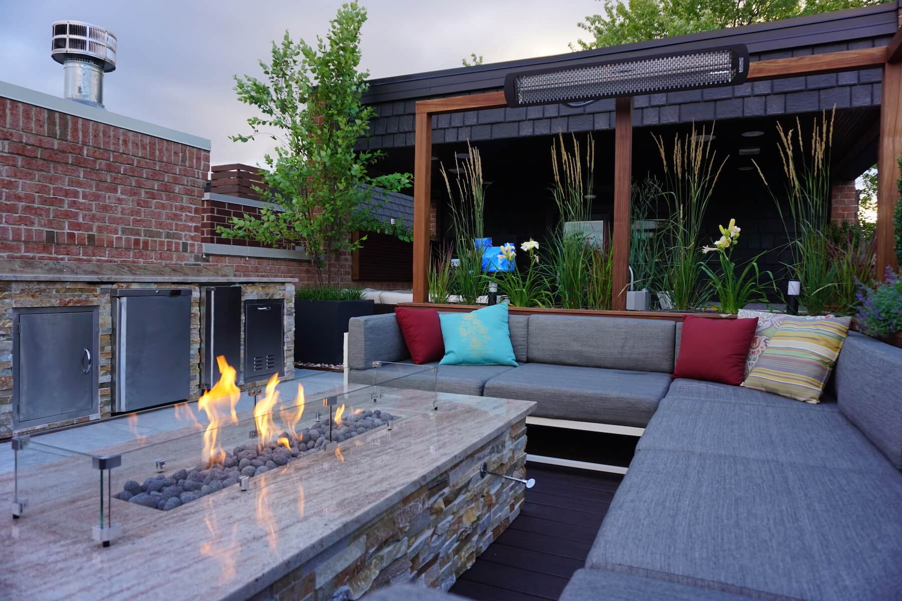 Fire Table With Lounge Area