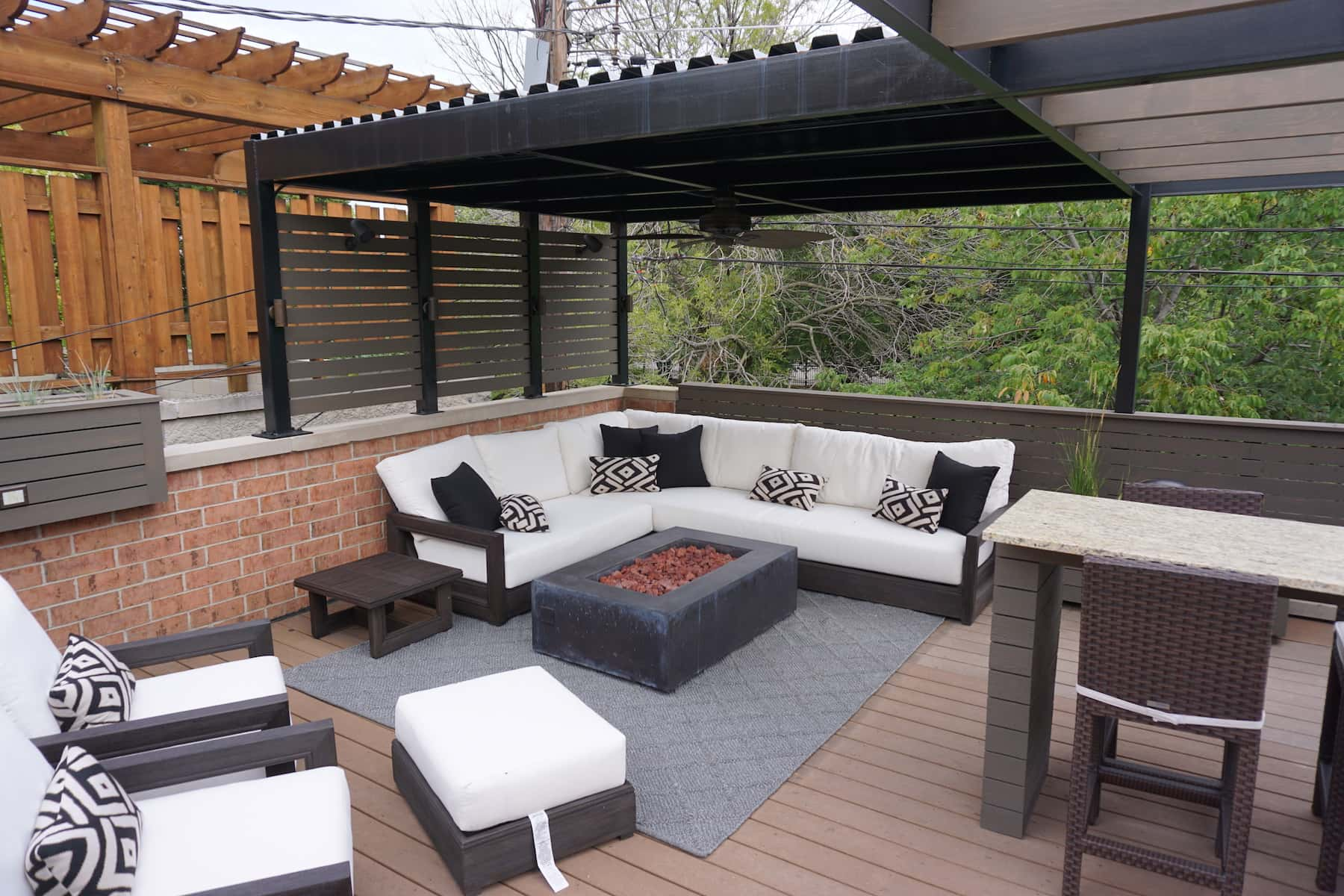 Outdoor furniture and fire pit