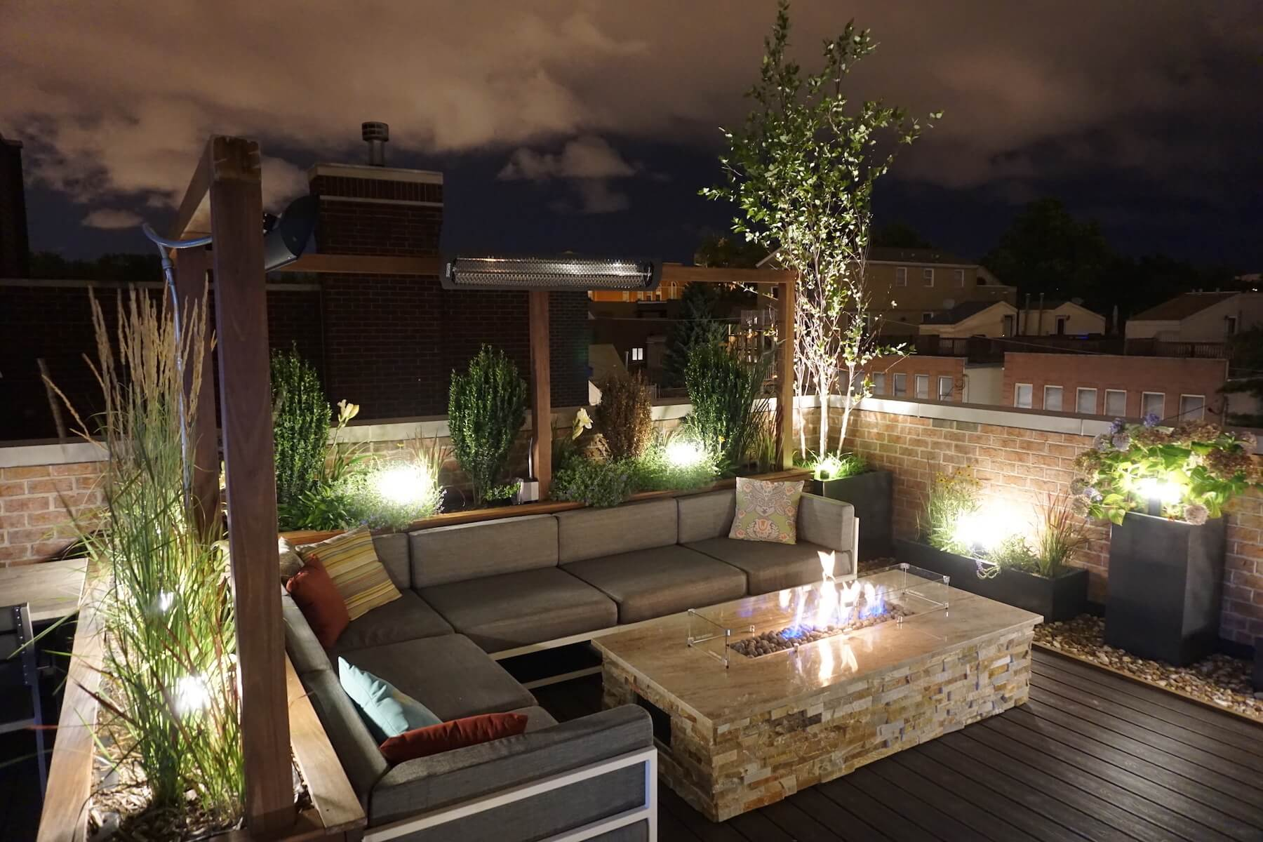 Rooftop Lounge With Fire Table