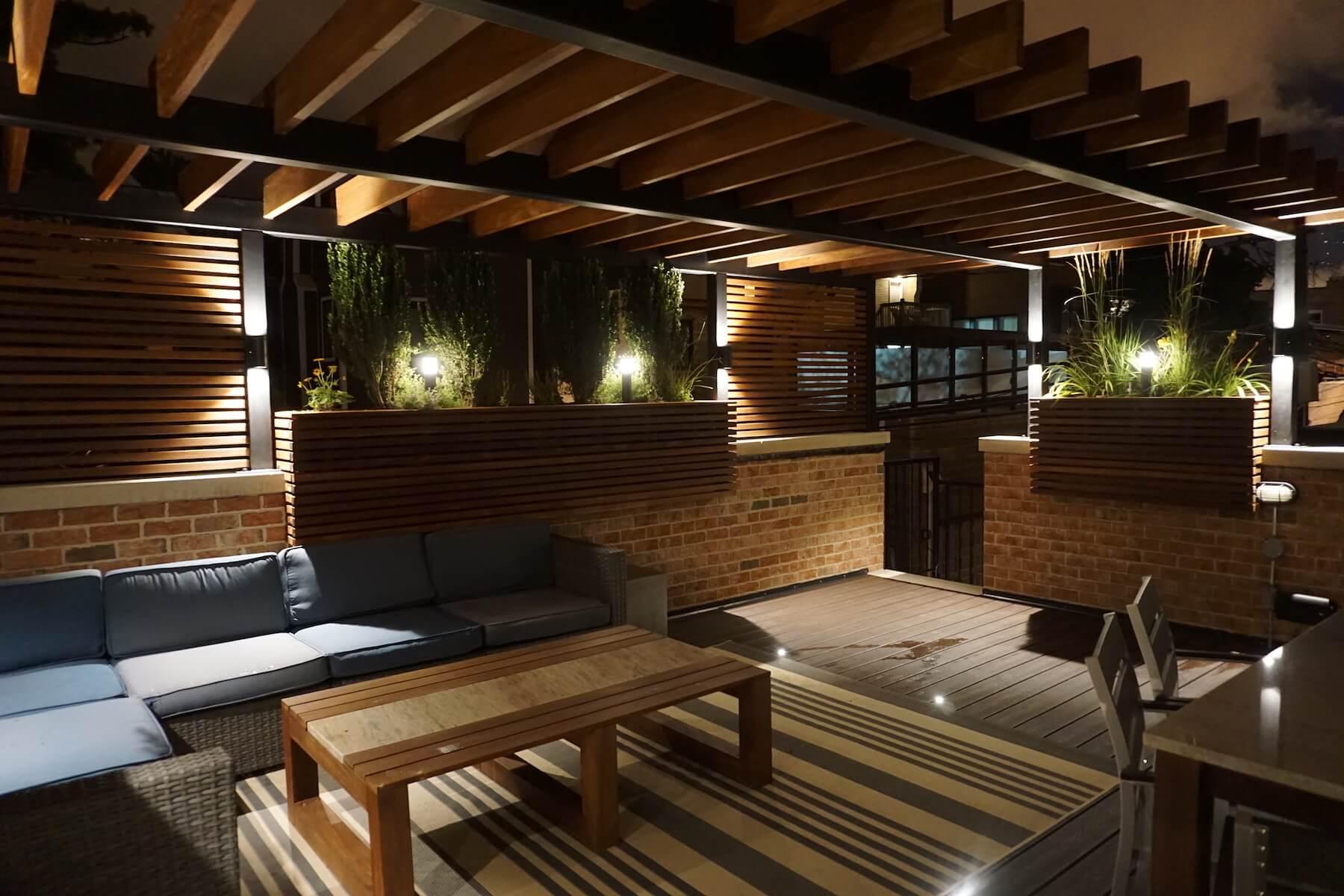 Roof Deck Pergola & Outdoor Lighting