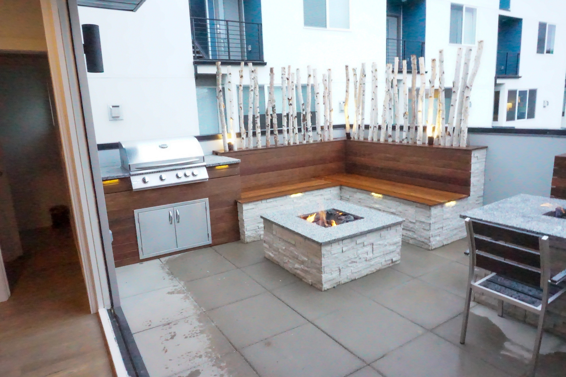 Built-In Grill and Fire Pit