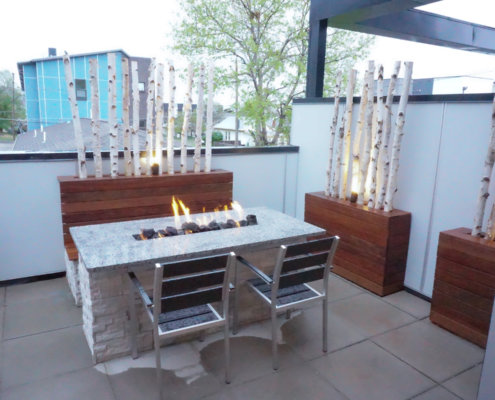 Fire Table With Privacy Fence