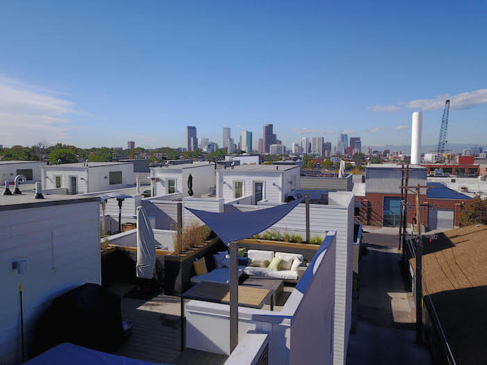 Rooftop Deck canopy fire pit custom furniture Rino Denver CO