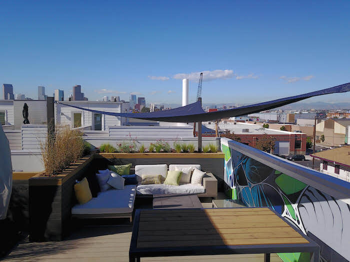 Rooftop Deck Canopy Planters Mural Fire Pit Rino Denver Co