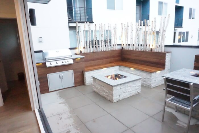 Outdoor Kitchen, Seating & Fire Pit