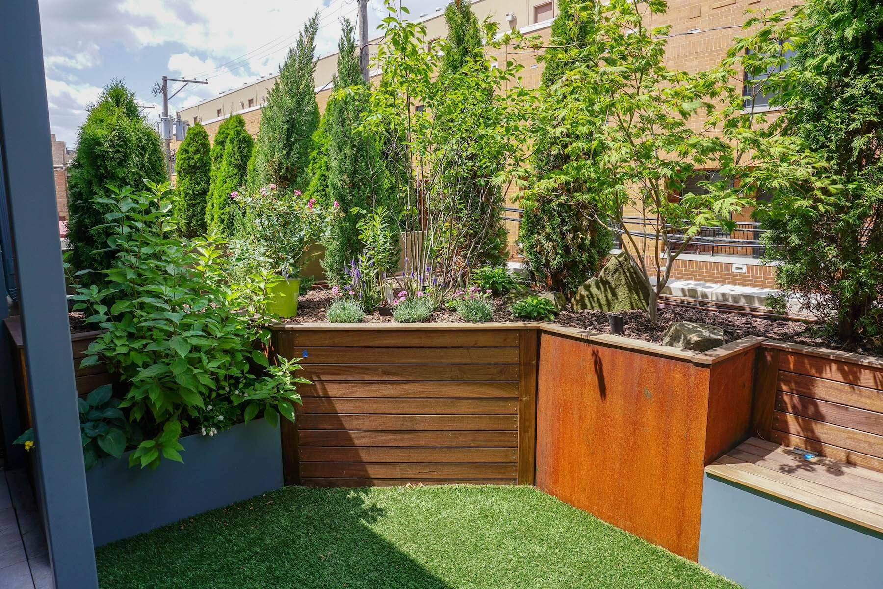 Built-In Planters and Turf