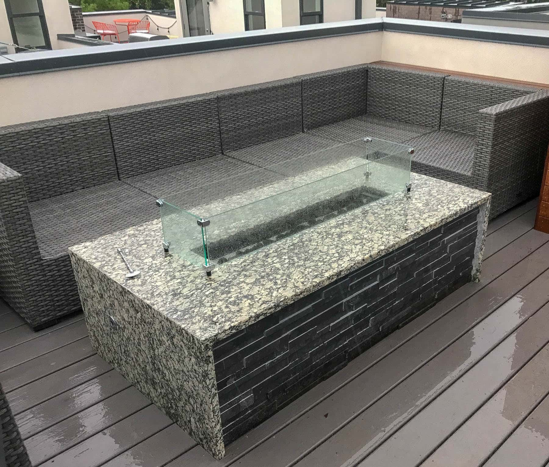 Glass Fire Pit and Outdoor Furniture