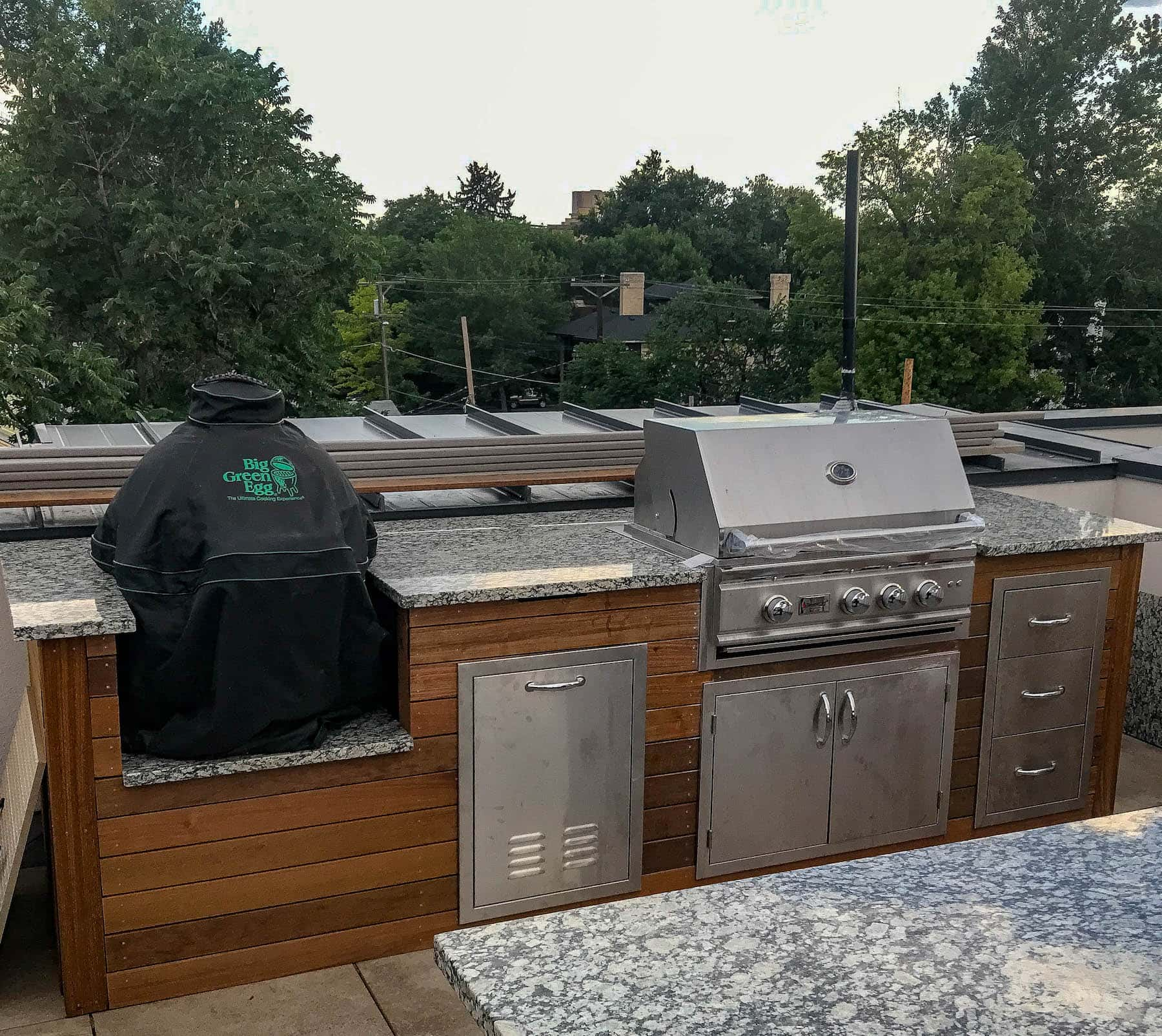 Outdoor Kitchen With Stainless Steel Appliances and Granite Countertops Rooftop DeckCity Park Denver CO