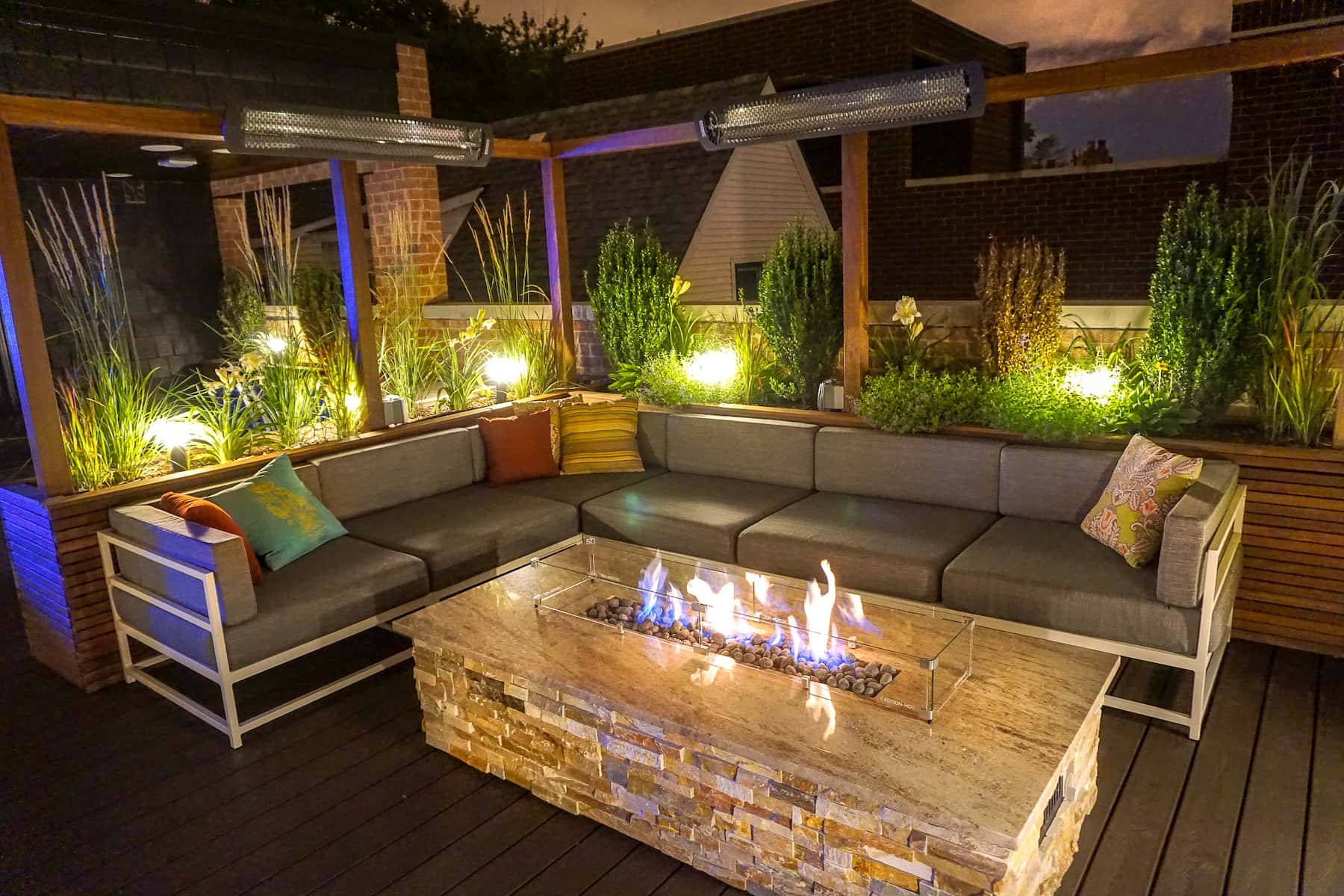 Outdoor Lighting with Built-In Planters