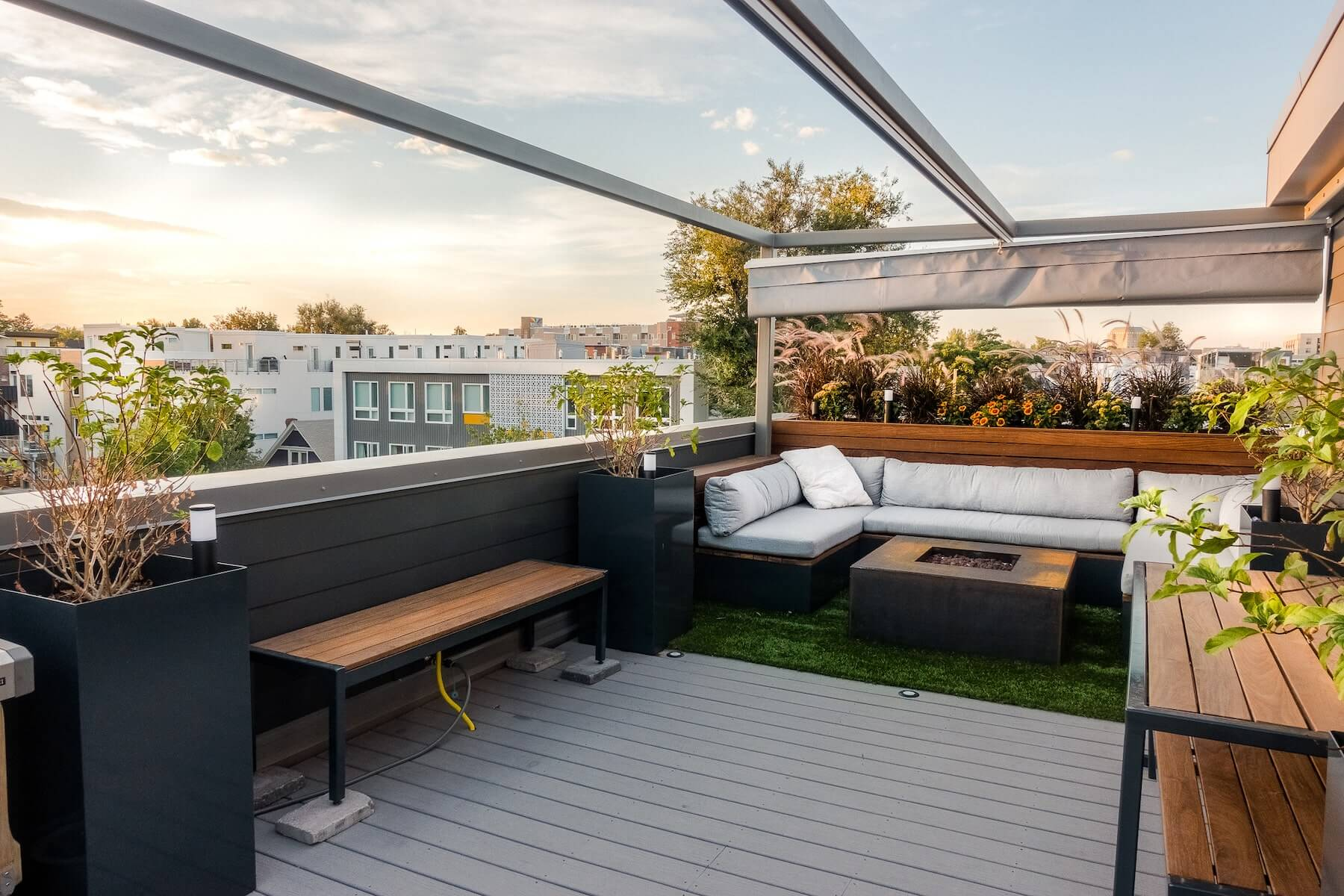 Rooftop Deck With Retractable Canopy Denver Roof Decks