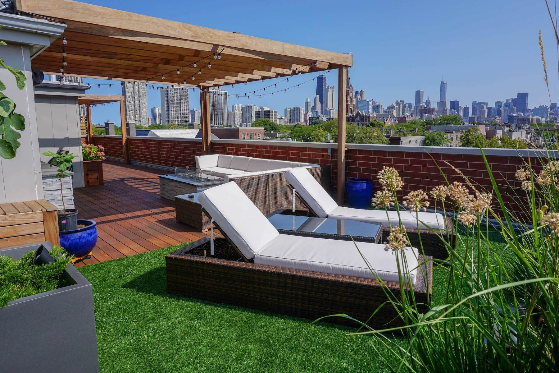 Rooftop Deck With Lounge Chairs