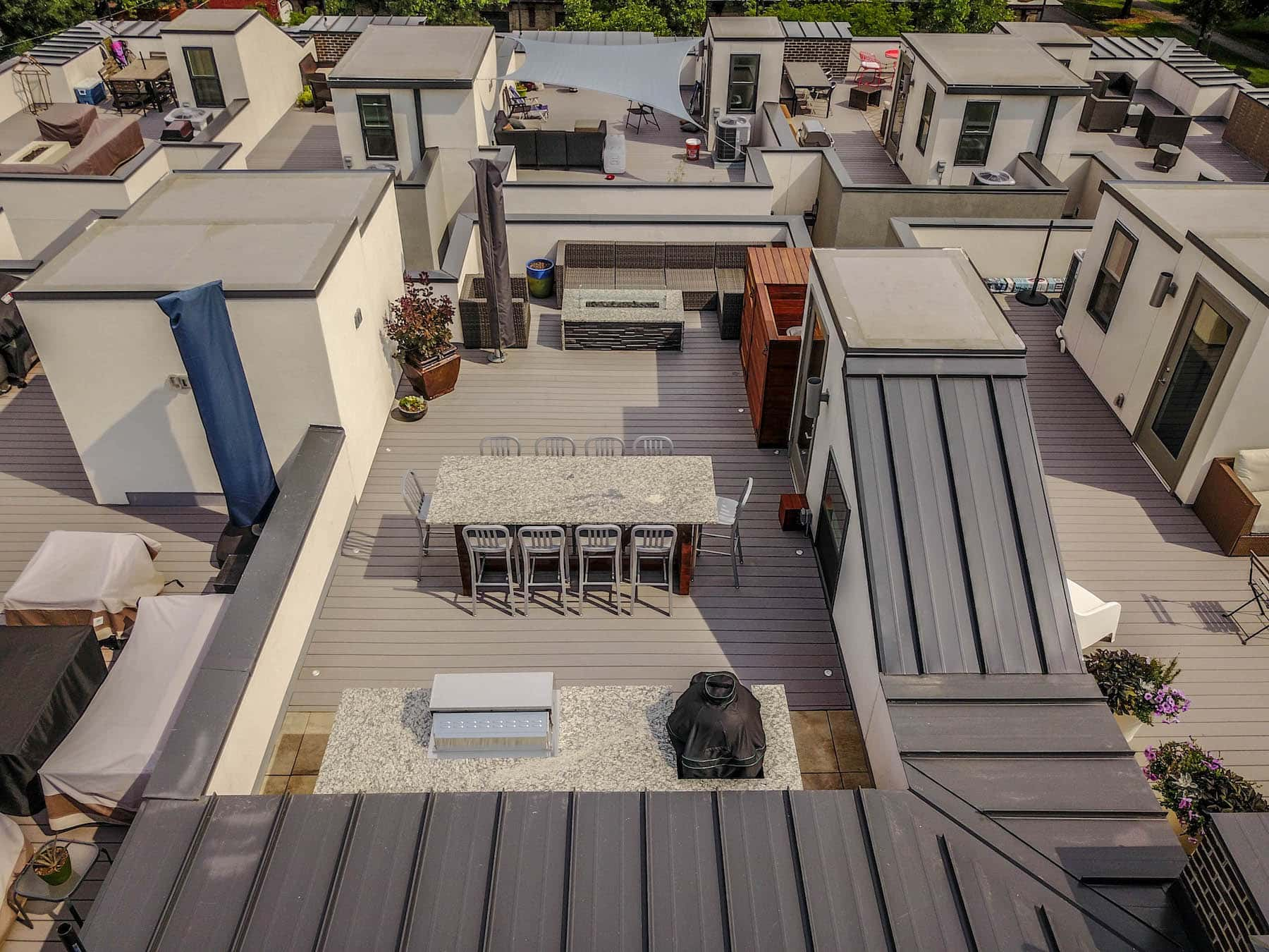 Rooftop Deck Outdoor Dining Outdoor Kitchen Fire Pit City Park Denver CO