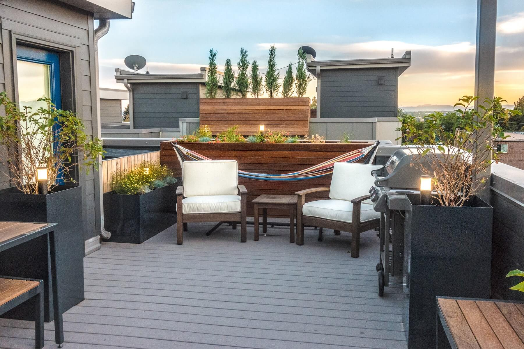 Sitting Area With Built-In Planters