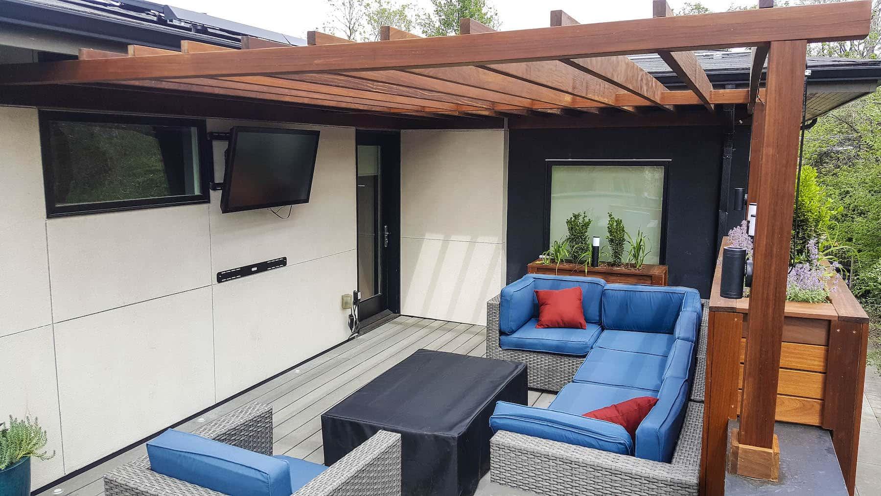 Rooftop Deck With Pergola outdoor TV planters Cherry Creek Denver CO