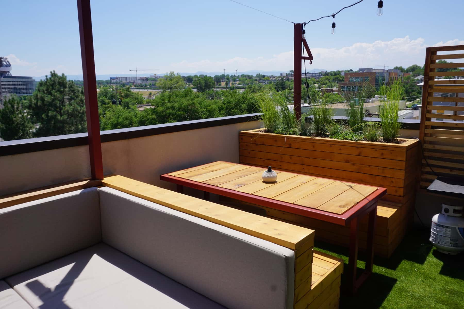 Pergola Daybed Planters Hot Tub Outdoor Dining TV Turf Outdoor Dining Mile High Stadium Denver CO