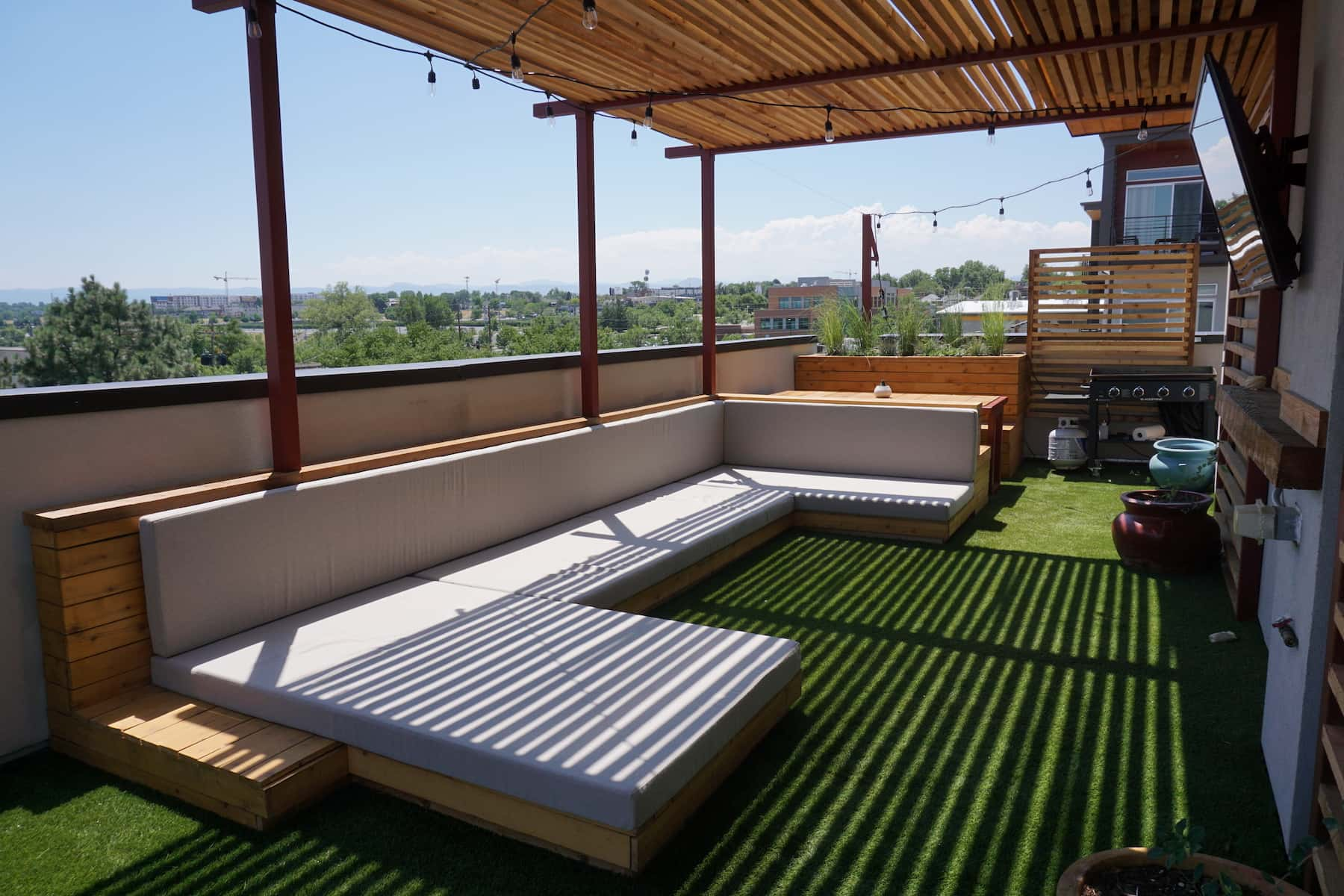 Pergola Daybed Planters Hot Tub Outdoor Dining TV Turf Mile High Stadium Denver CO