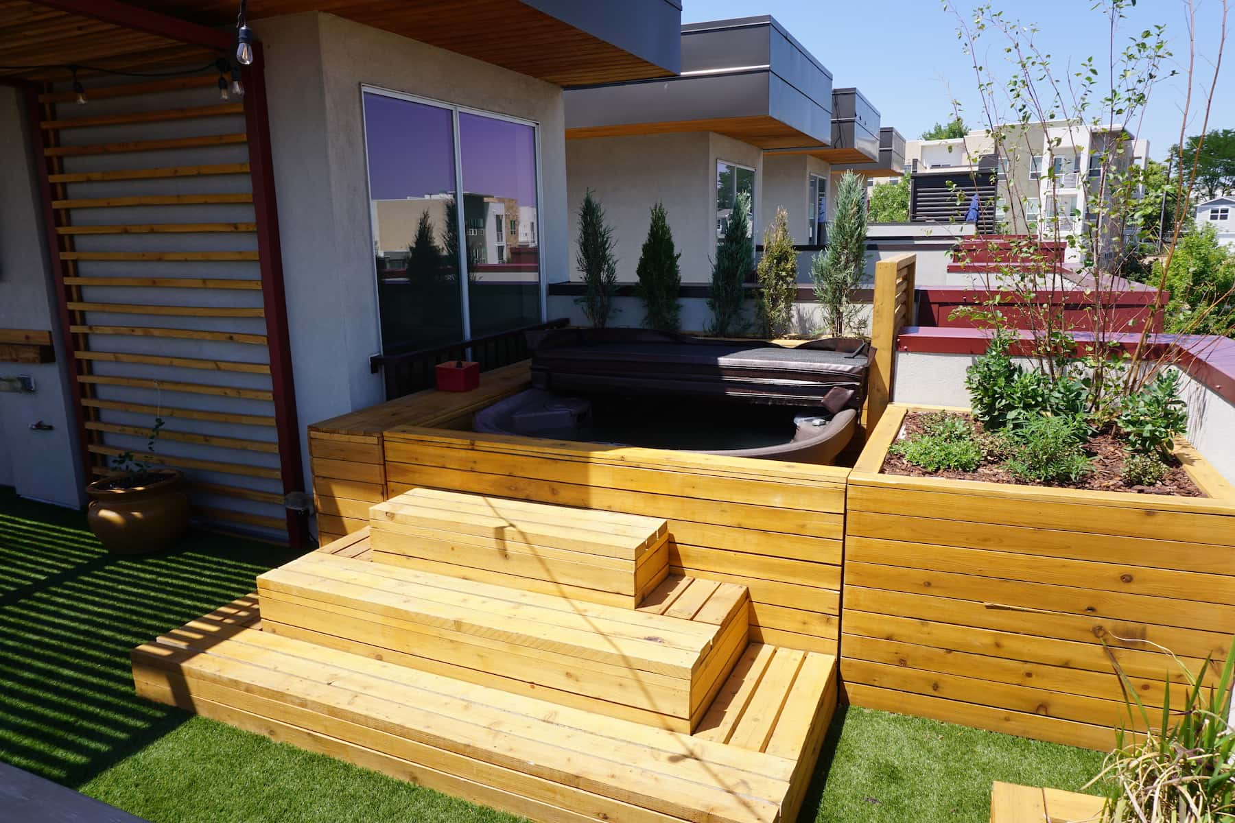 Pergola Daybed Planters Hot Tub Outdoor Dining TV Mile High Stadium Denver CO
