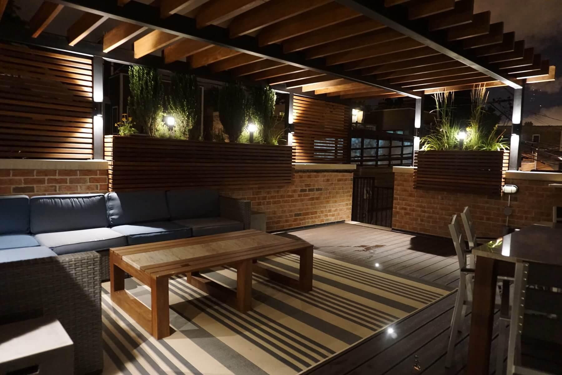 Rooftop Deck With Pergola And Landscape Lighting Denver CO