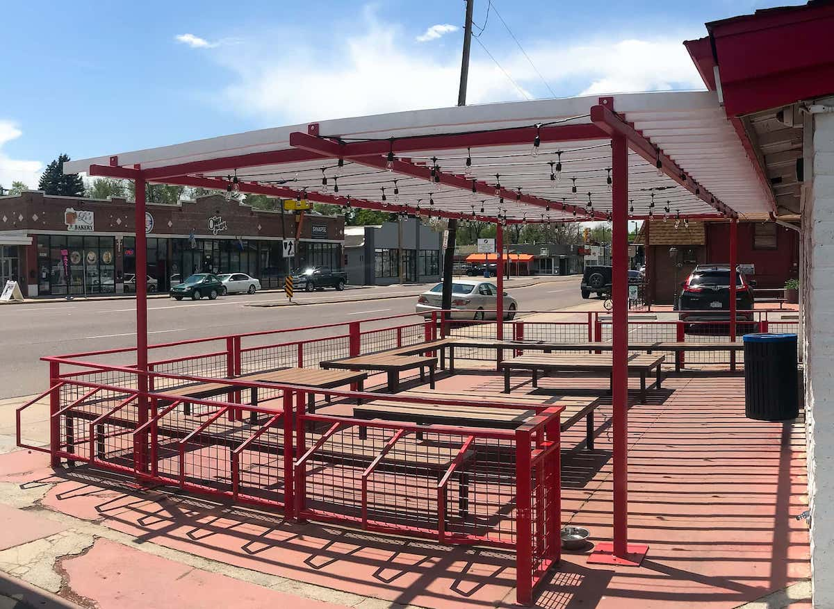 Pergola Bike Racks Outdoor Seating Area East Denver CO