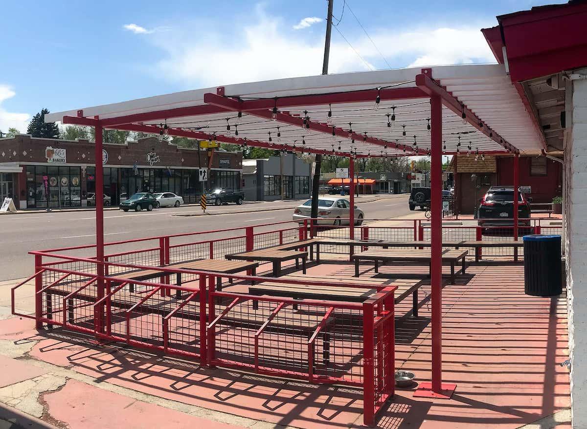 Pergola Bike Racks Outdoor Seating Area East Denver CO