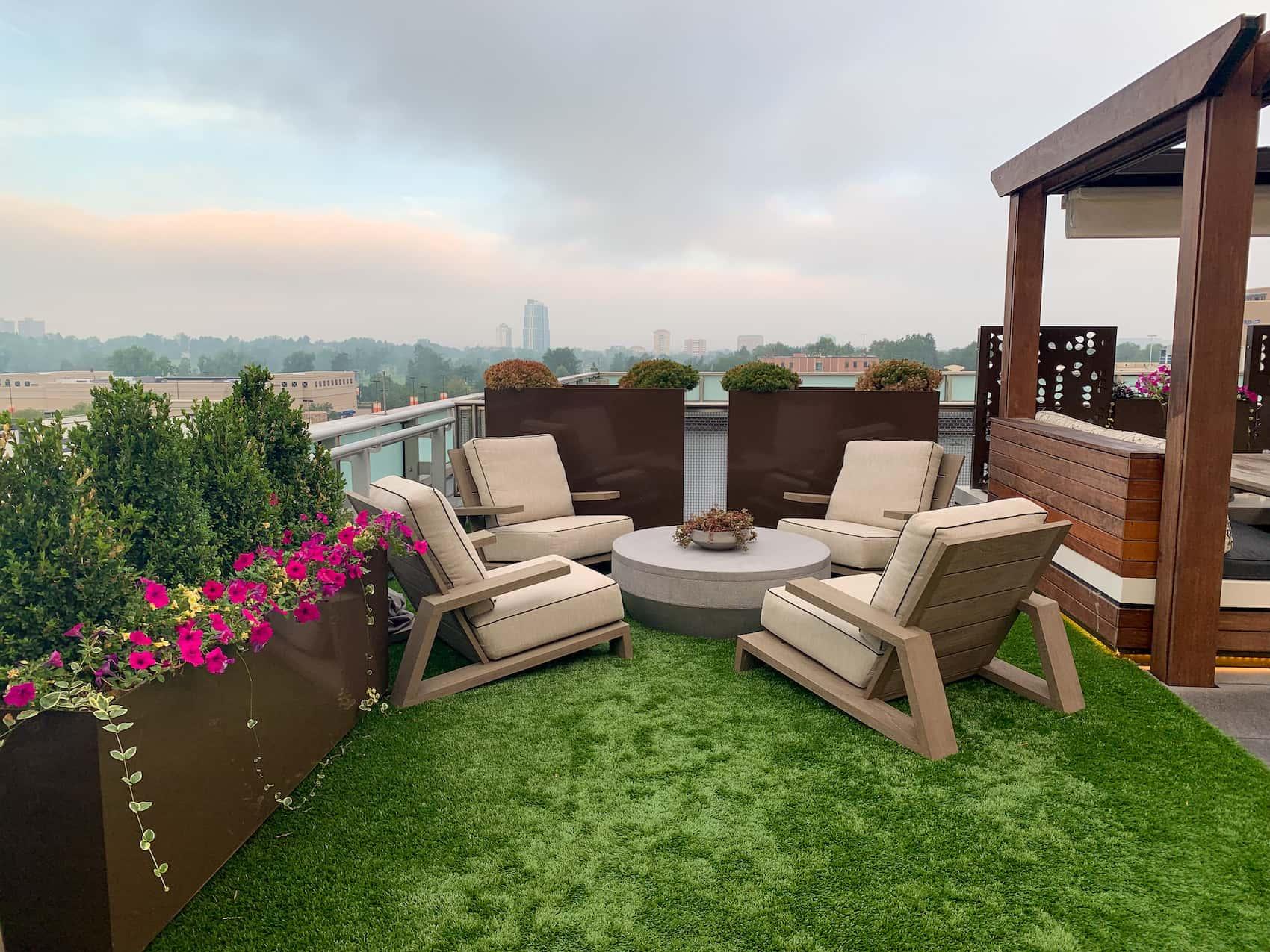 Artificial Turf Rooftop Deck Built-In Planters Cherry Creek Denver CO