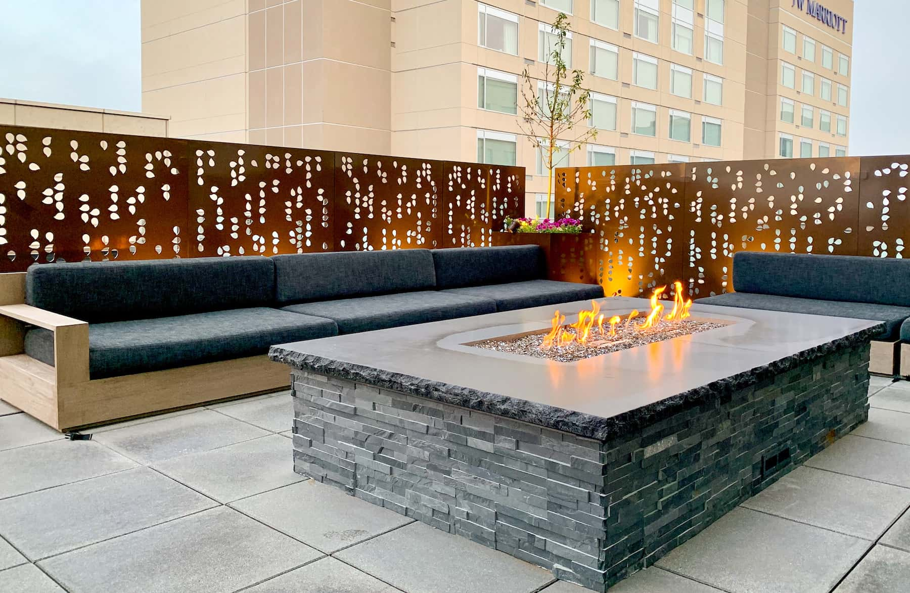 Fire Pit With Seating And Privacy Screen Cherry Creek Denver CO