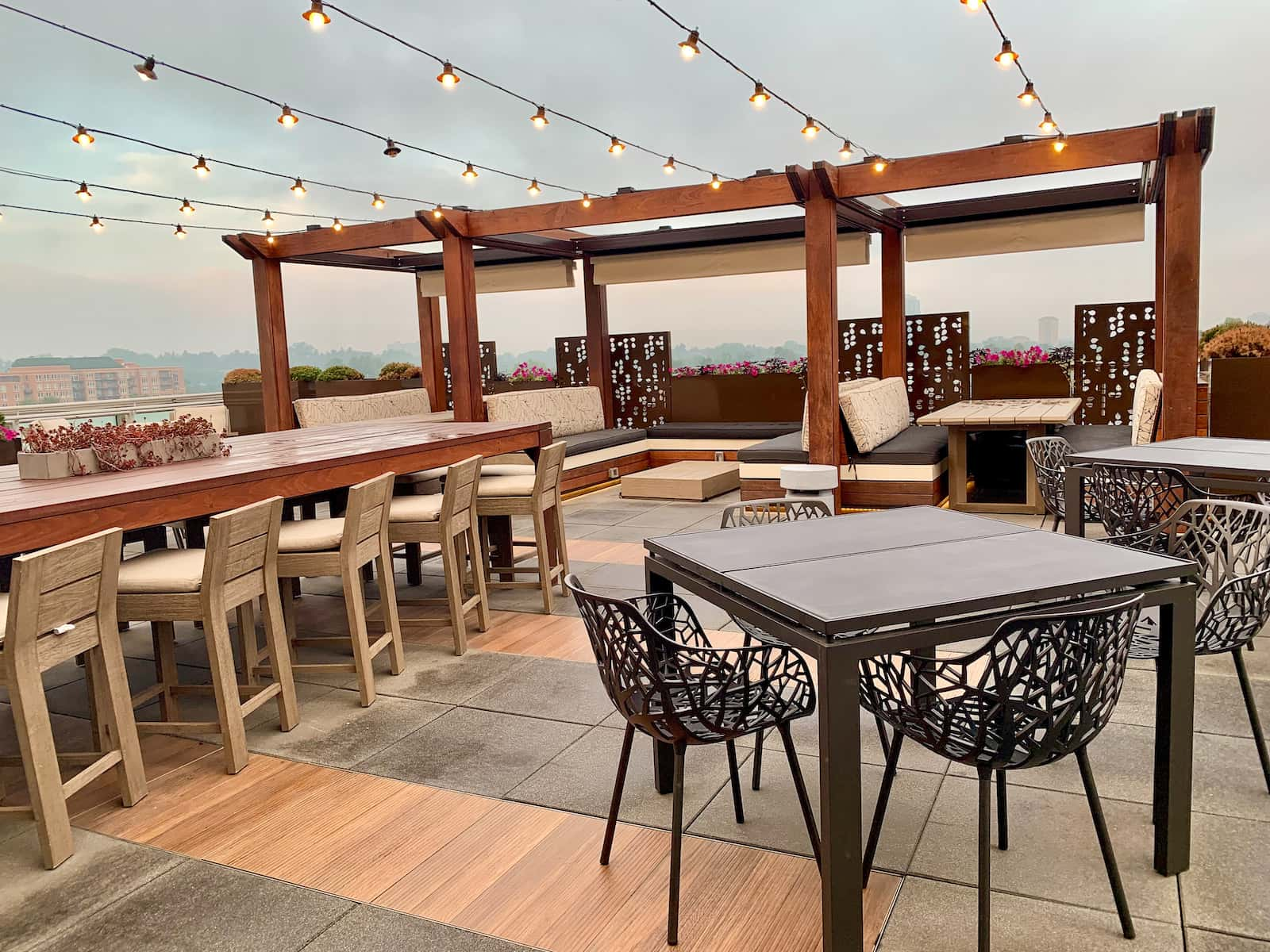 Rooftop Patio With Lighting And Seating Cherry Creek Denver CO