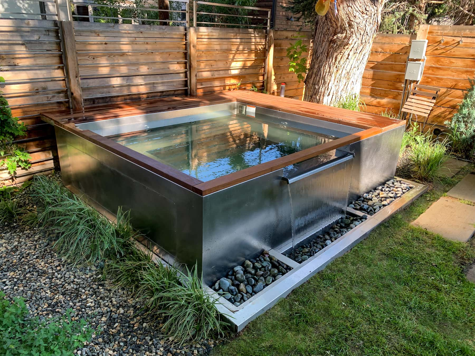 Waterfall Hot Tub With Bench Seating Bonnie Brae Denver CO