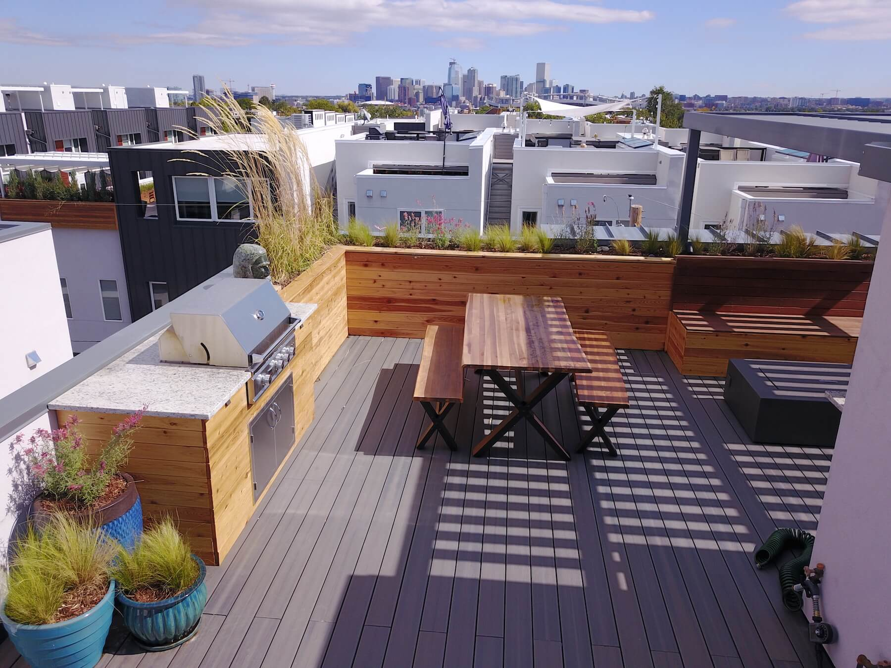 Roof Deck Planters Outdoor furniture Pergola Sloans Lake Denver CO Roof Deck and Garden