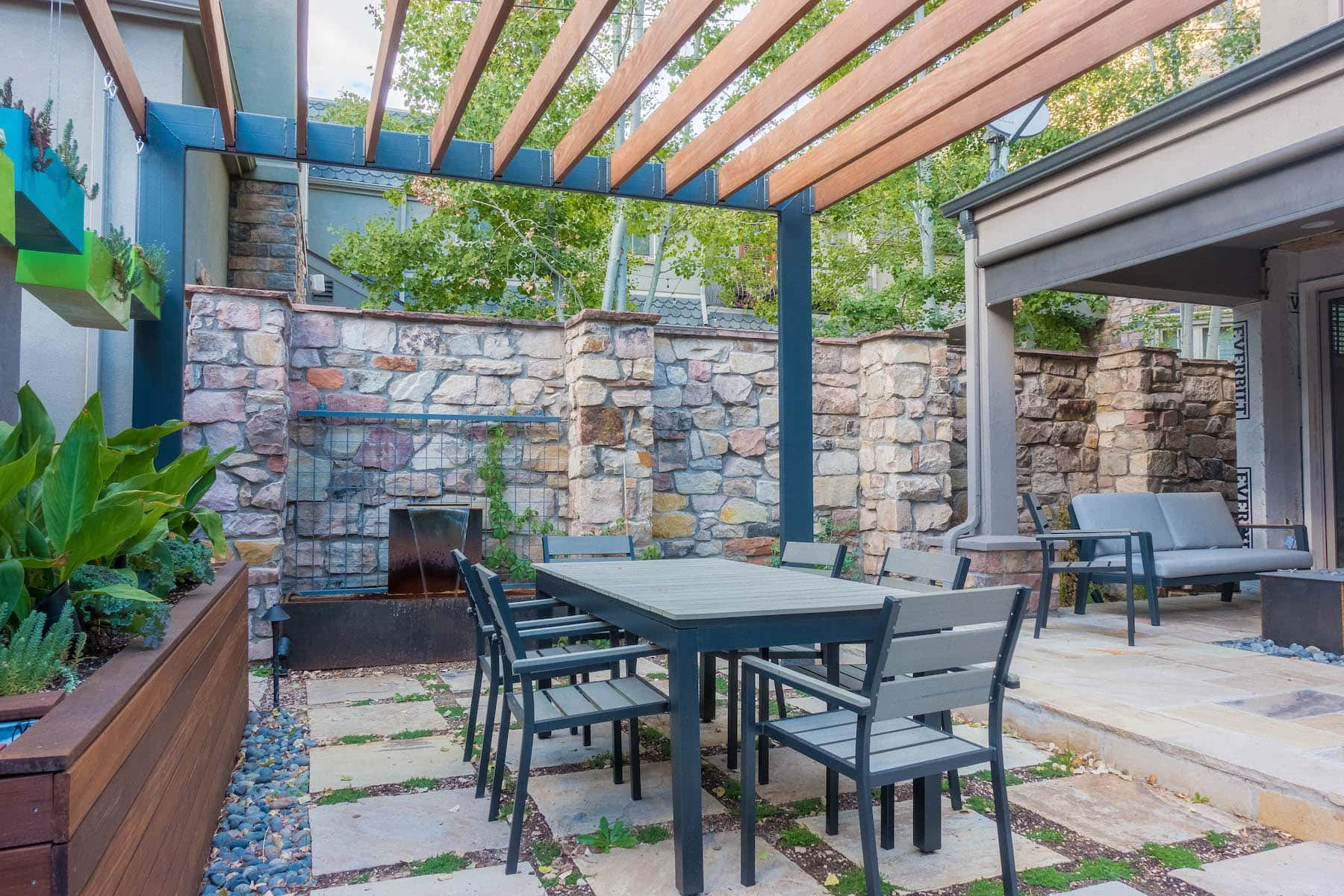 Landscape Pergola Outdoor Dining Water Feature Patio Rooftop Deck LoHi Denver CO