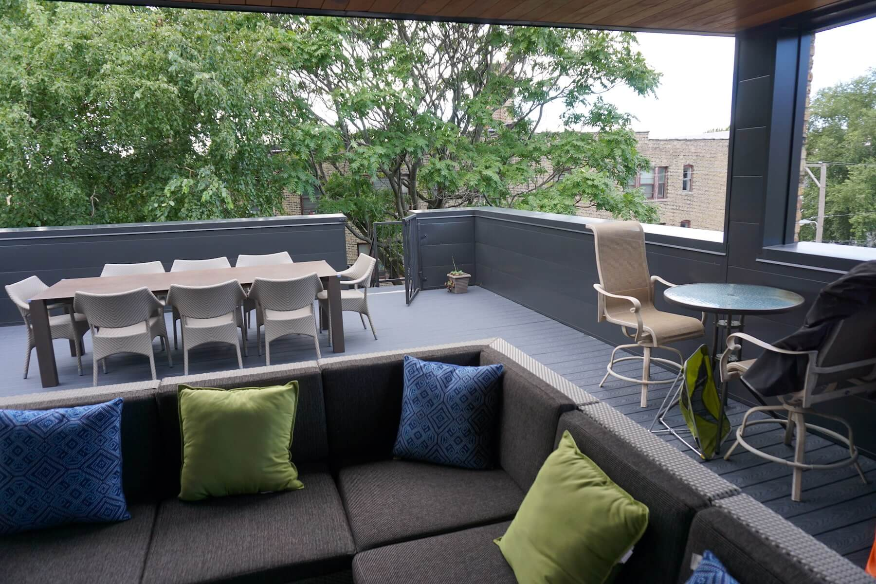 TV Outdoor Fireplace Covered Deck Lounge Denver CO