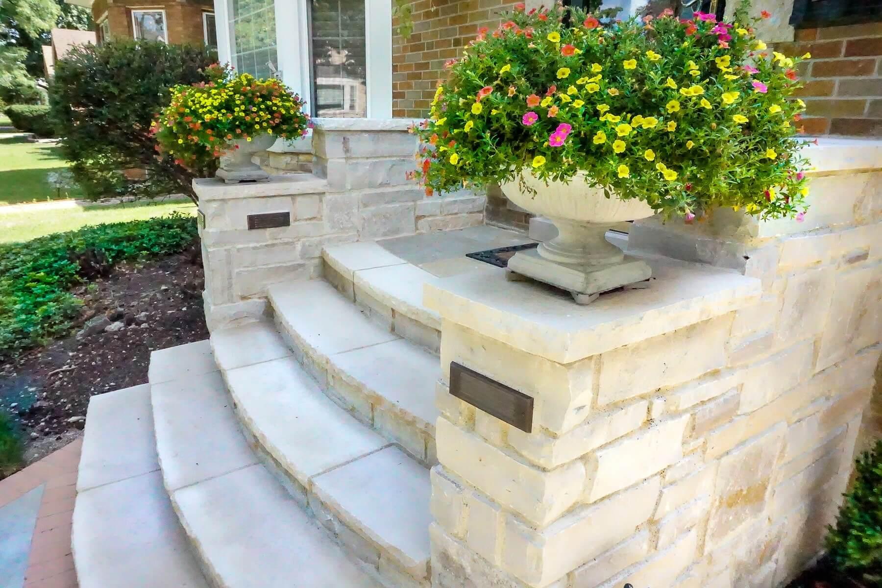 paver walkway stone entryway boulders plantings denver co