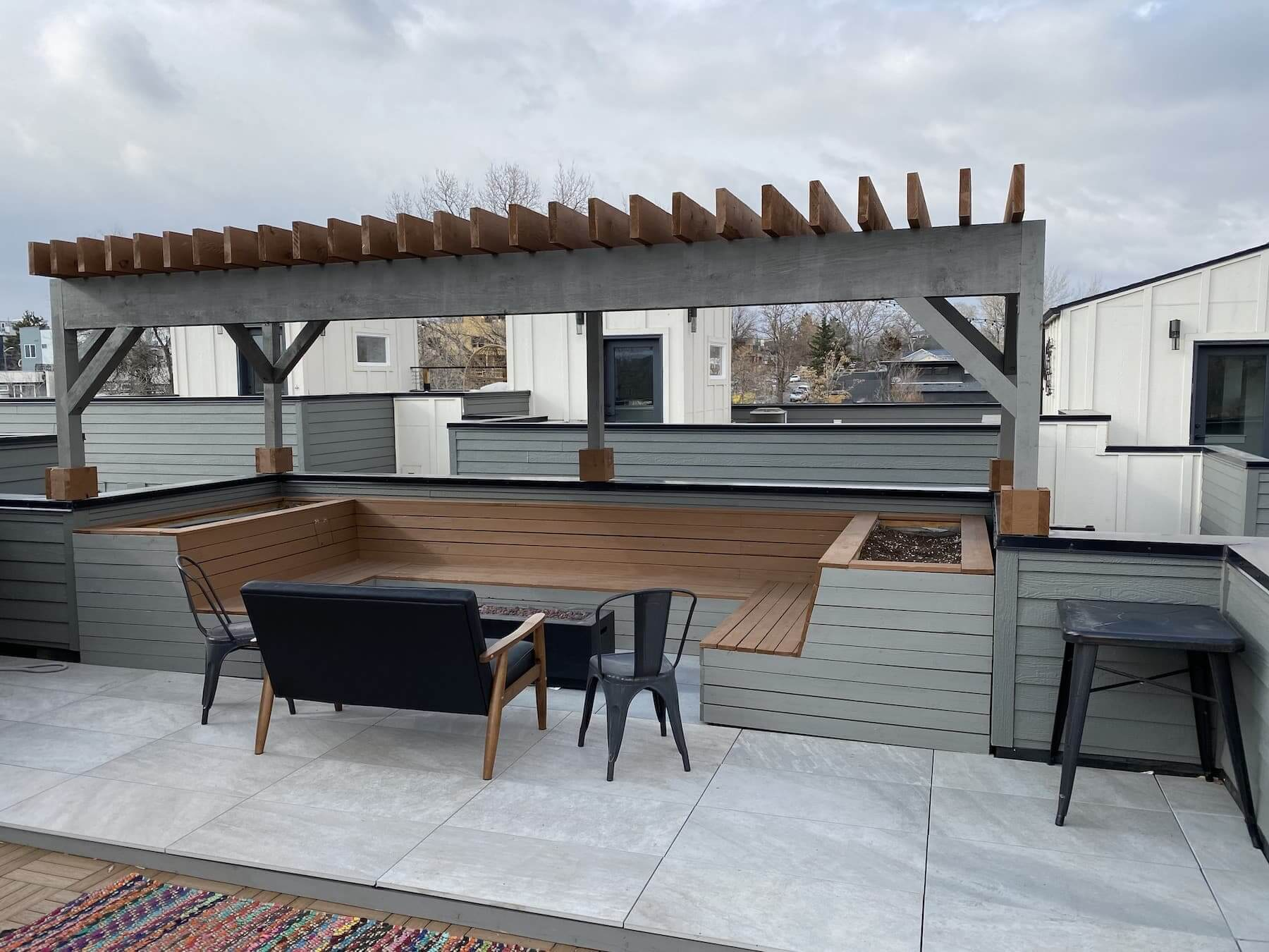 Wooden Pergola Built In Bench Sloan's Lake Denver