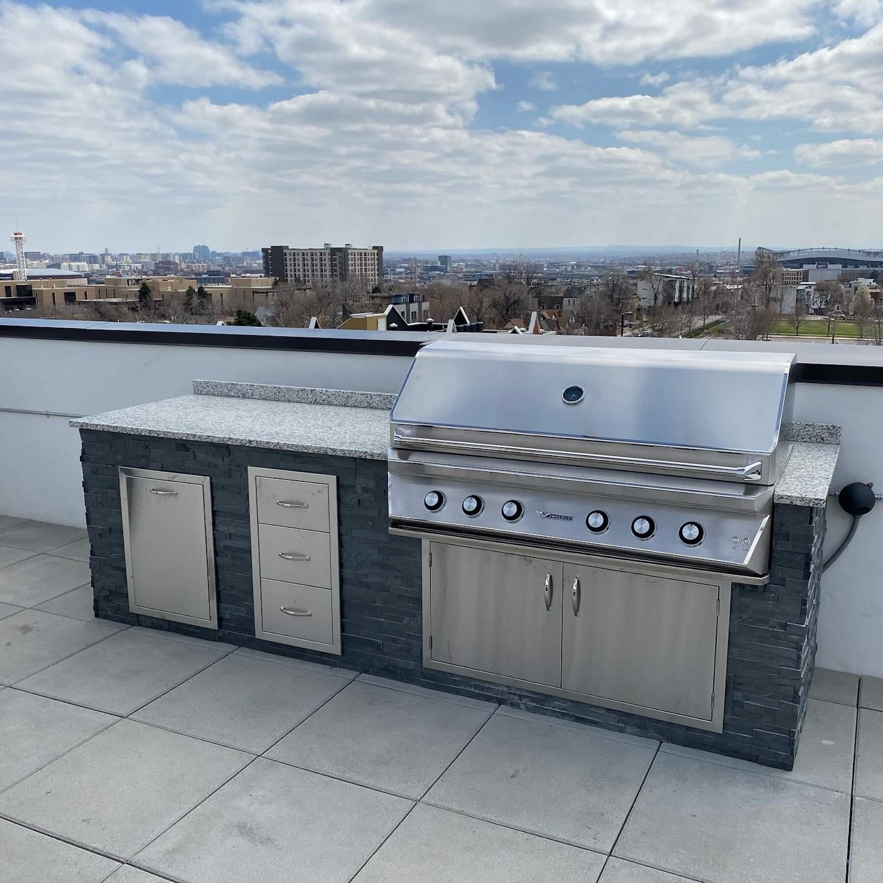 custom stone granite outdoor kitchen rooftop deck denver co